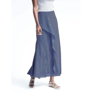 Banana Republic Navy Striped Ruffle Maxi Skirt 12
